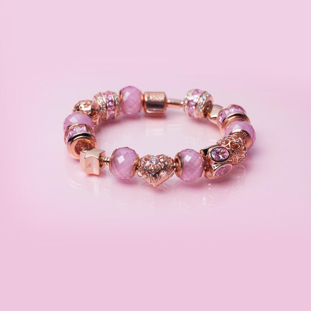 bracciale oro rosa amore e baci